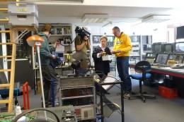 Dreharbeiten im Tanzfilminstitut mit der Journalistin Leonie Wedekind und Florian Gerding (Kamera). Foto K. Tiedemann